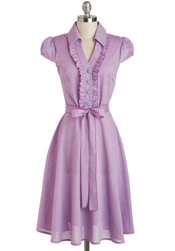 About the Artist Dress in Lilac - Daytime Party, Purple, Solid, Buttons, Ruffles, Belted, A-line, Cap Sleeves, Collared, Spring, Variation, Long, Cotton