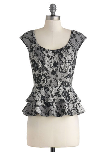 Lace the Day Top - Black, White, Party, Work, Girls Night Out, Vintage Inspired, Peplum, Mid-length, Floral, Cocktail, Film Noir, French / Victorian, Cap Sleeves, Scoop, Grey, Short Sleeve