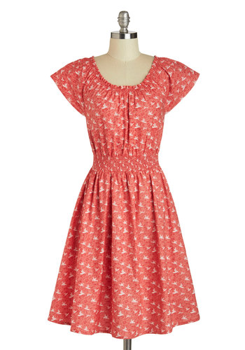 Co-Op Artist Dress in Red Origami by Mata Traders - Cotton, Mid-length, Red, White, Pockets, Casual, A-line, Cap Sleeves, Scoop, Eco-Friendly, Novelty Print, Variation