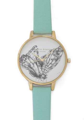 As Time Flutters By Watch by Olivia Burton - Blue, Black, White, Print with Animals, International Designer, Leather, Pastel, Graduation