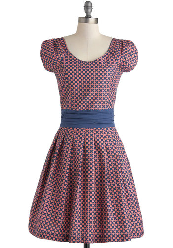 Dot to Get Going Dress by Mata Traders - Cotton, Mid-length, Blue, Pink, Print, A-line, Cap Sleeves, Scoop, Pockets, Daytime Party, Vintage Inspired, Eco-Friendly