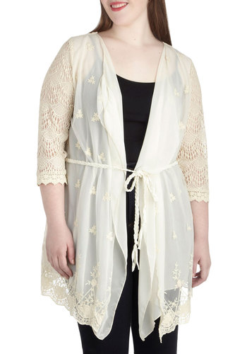 Elegant Day Off Cardigan in Plus Size - Sheer, Cream, Solid, Crochet, Casual, Boho, 3/4 Sleeve, Embroidery, Belted, Work, Daytime Party