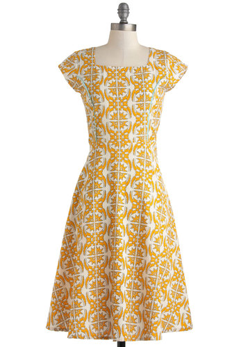 Kerry On with Confidence Dress by Mata Traders - Yellow, Print, Cotton, Long, White, Casual, A-line, Cap Sleeves, Eco-Friendly, Work, Vintage Inspired