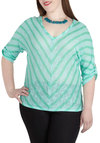Roller Coastal Top in Plus Size - Sheer, Mint, Stripes, Casual, 3/4 Sleeve, V Neck, Chevron