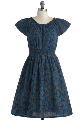 Co-op Artist Dress in Blue Motif by Mata Traders - Mid-length, Cotton, Blue, Print, Pockets, Casual, A-line, Cap Sleeves, Scoop, Eco-Friendly, Variation, Woven