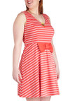 Lollipop Culture Dress in Plus Size - Coral, White, Stripes, Bows, Casual, A-line, Sleeveless, V Neck, Nautical, Spring, Exclusives