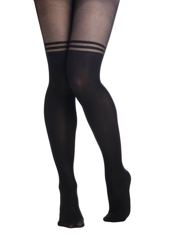 Rings My Belle Tights - Black, Solid, International Designer, Film Noir, Sheer