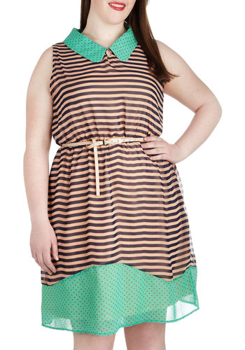 Classy Combo Dress in Plus Size - Multi, Green, Pink, Brown, Tan / Cream, Stripes, Belted, Casual, A-line, Sleeveless, Collared, Polka Dots, Spring