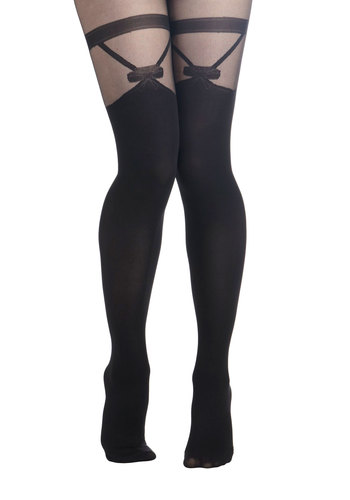 Avant Garter Tights - Black, Solid, International Designer, Sheer, Bows, Party, Girls Night Out, Film Noir, Pinup, Winter