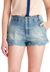 Dart and Soul Shorts by Levi's - Blue, Solid, Pockets, Casual, Denim, Cotton, Beach/Resort, Summer, High Waist, Nautical