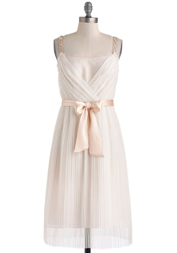 Heartfelt Romance Dress - Pink, Solid, Rhinestones, Belted, Cocktail, A-line, Tank top (2 thick straps), Wedding, Bride, Vintage Inspired, Luxe, Fairytale, Summer, Long, Graduation