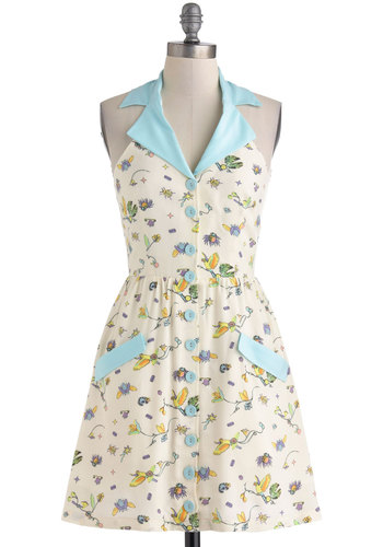 Winged Things Dress - Mid-length, Cream, Blue, Multi, Floral, Buttons, Pockets, Casual, Shirt Dress, Halter, Collared, Print with Animals, Summer