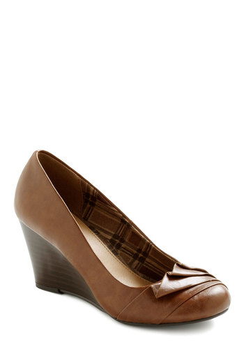 Tale as Fold as Time Wedge - Wedge, Brown, Solid, Work, Mid