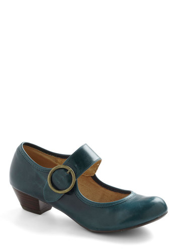 Few Steps Forward Heel in Blue by Chelsea Crew - Low, Blue, Work, Vintage Inspired, 20s, 30s, Mary Jane
