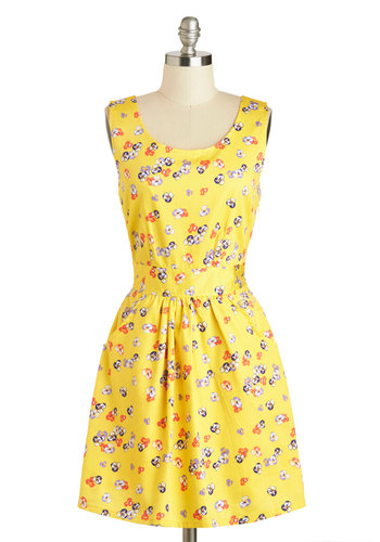 Porch Picnic Dress by Tulle Clothing - Mid-length, Cotton, Yellow, Red, Purple, White, Floral, Cutout, Pleats, Pockets, Casual, A-line, Sleeveless, Scoop, Summer