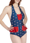 Float an Idea One Piece by Fables by Barrie - Blue, Red, White, Print, Ruffles, Ruching, Beach/Resort, Nautical, Rockabilly, Pinup, Vintage Inspired, 40s, 50s, Halter, Summer