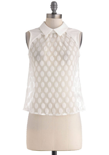 Album Launch Top - White, Polka Dots, Work, Sleeveless, Collared, Mid-length, Sheer, Casual, Vintage Inspired, Summer