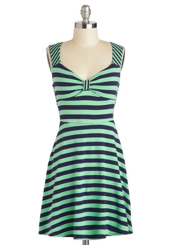 Boating Party Dress - Blue, Stripes, Short, Mint, Casual, A-line, Sleeveless, Sweetheart, Nautical, Cotton, Mint, Summer