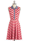 In the Mast Lane Dress - Blue, White, Stripes, Buttons, Nautical, Shirt Dress, Sleeveless, Collared, Cotton, Mid-length, Red, Casual, Summer, Chevron