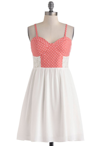Pretty in Palm Beach Dress - Sheer, Mid-length, White, Pink, Polka Dots, Lace, Casual, Spaghetti Straps, Sweetheart, Daytime Party, A-line, Summer
