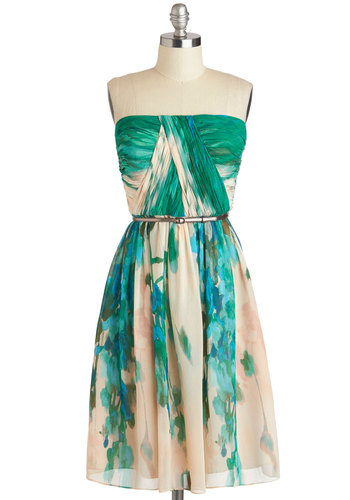 Scenery at Sunset Dress in Forest - Exclusives, Green, Tan / Cream, Print, Belted, Ruching, Party, A-line, Spaghetti Straps, Sweetheart, Wedding, Bridesmaid, Luxe, Summer, Variation, Mid-length, Prom