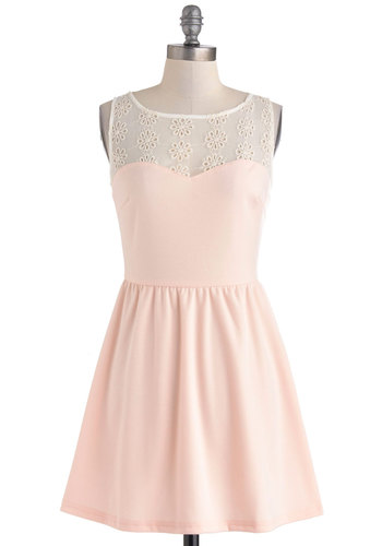 Such a Sweetie Dress - Pastel, Sheer, Short, Pink, White, Eyelet, Party, A-line, Sleeveless, Solid