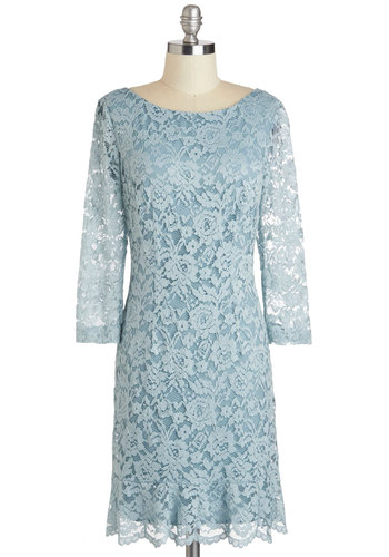 Blazing Beauty Dress in Mist Blue - Lace, Blue, Solid, Sheath / Shift, 3/4 Sleeve, Scoop, Wedding, Party, Cocktail, Vintage Inspired, Luxe, Variation, Mid-length, Exclusives