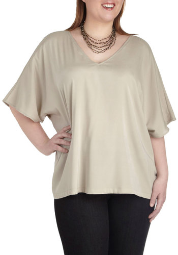 Parchment to Be Top in Plus Size by JilRo - Tan, Solid, Work, Casual, Minimal, Short Sleeves, V Neck, Variation, Travel