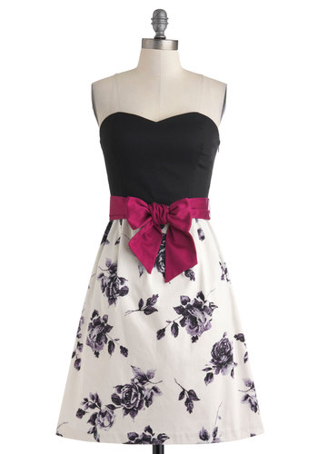 Twilight Promenade Dress - Short, Cotton, Pink, Black, White, Floral, Bows, Cocktail, A-line, Strapless, Sweetheart, Vintage Inspired, Fairytale