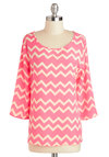 On the Same Wavelength Top - Mid-length, Pink, White, Stripes, Chevron, Work, Long Sleeve