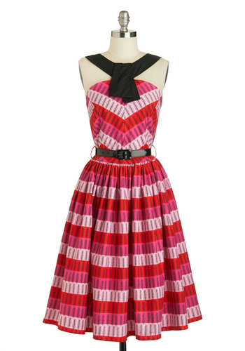 Sprig Has Sprung Dress by Bernie Dexter - Cotton, Long, Red, Black, Stripes, Pockets, Belted, Party, Sleeveless, Pink, Print, Vintage Inspired, 50s, Fit & Flare