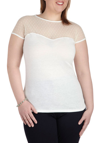 The Answer is Sheer Top in Ivory - Plus Size - Sheer, White, Casual, Pastel, Short Sleeves, Spring, Variation