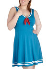 Embraceable Blue Dress in Plus Size - Blue, White, Casual, Nautical, A-line, Tank top (2 thick straps), V Neck, Red, Solid, Bows, Vintage Inspired