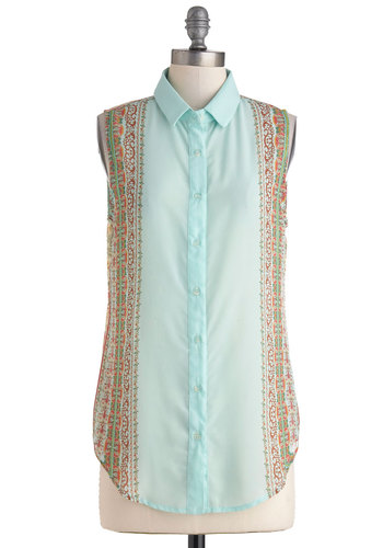 Day to Decor Top - Multi, Brown, Tan / Cream, Mint, Print, Buttons, Sleeveless, Collared, Mid-length, Sheer, Work, Casual, Boho, Summer