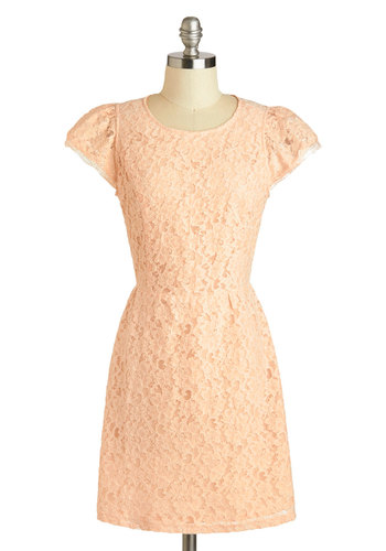 Finale Touch Dress - Pastel, Cotton, Sheer, Mid-length, Pink, Solid, Backless, Lace, Party, A-line, Cap Sleeves, Scoop, Daytime Party, Bridesmaid, French / Victorian, Summer