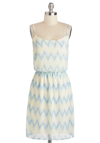 Catching Airwaves Dress - Mid-length, Blue, Chevron, Casual, A-line, Spaghetti Straps, Scoop, Cream, Summer