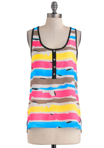 Bright Horizon Top - Multi, Yellow, Blue, Pink, Stripes, Buttons, Mid-length, Sheer, Brown, Print, Casual, Beach/Resort, Tank top (2 thick straps), Racerback, Summer, Scoop, Travel