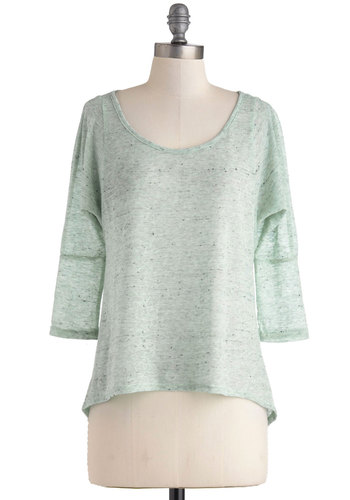 Mint Chocolate Chic Top - Sheer, Mid-length, Mint, Casual, 3/4 Sleeve, Scoop, Travel