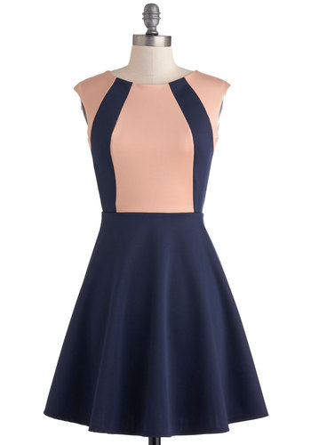 Staying in Step Dress - Mid-length, Blue, Pink, Backless, Casual, A-line, Sleeveless, Work, Colorblocking, Crew