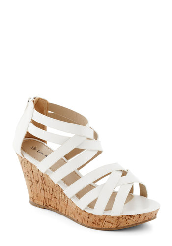 Tasting Tour Wedge in White - White, Platform, Wedge, Mid, Faux Leather, Solid, Party, Daytime Party, Summer, Strappy, Variation