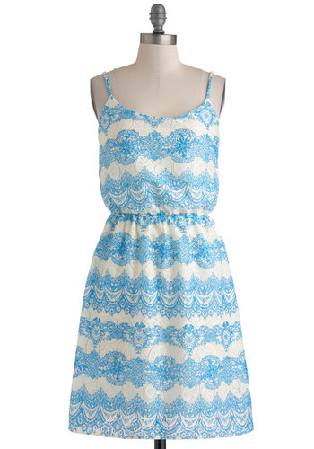 Rococo Reception Dress - Mid-length, Blue, White, Paisley, Casual, A-line, Spaghetti Straps, Scoop, Beach/Resort, Summer