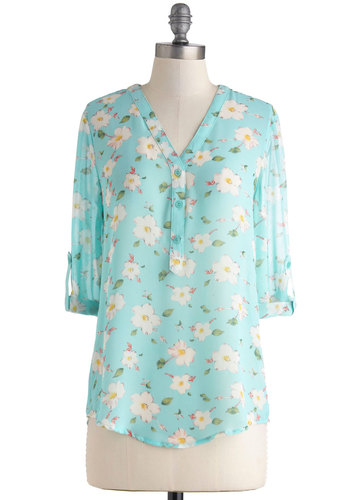 Aloha Joy Top - Blue, Yellow, Green, Pink, White, Floral, Buttons, Casual, 3/4 Sleeve, Sheer, Mid-length, Pastel, V Neck