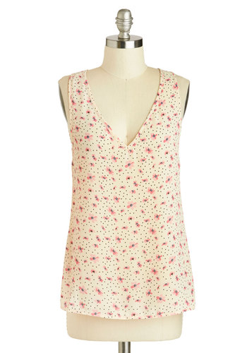 Pink Posy Dots Top - Tan, Pink, Black, Polka Dots, Floral, Cutout, Casual, V Neck, Mid-length, Sheer, Racerback, Spring, Summer, Travel