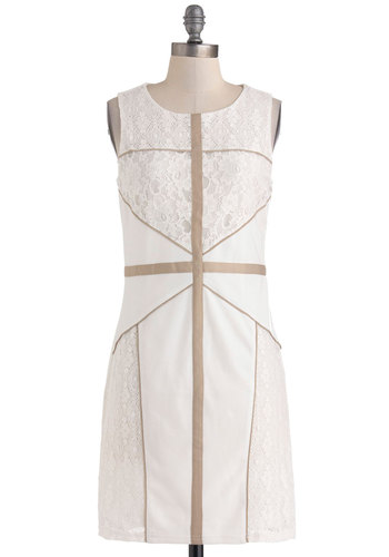How Intersecting Dress - Mid-length, White, Tan / Cream, Lace, Trim, Party, Sheath / Shift, Sleeveless, Scoop, Graduation, Bride, Vintage Inspired, 60s, Summer