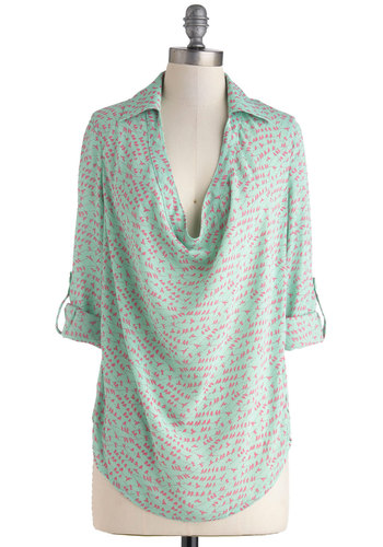 Try Out Your Wings Top in Mint - Sheer, Long, Mint, Pink, Print with Animals, Epaulets, Casual, 3/4 Sleeve, Pastel, Cowl