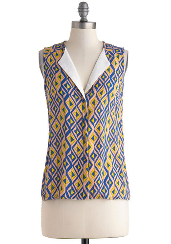 Title Sequence Top - Multi, Yellow, Blue, Pink, Buttons, Casual, Sleeveless, Mid-length, Sheer, Yellow, Sleeveless