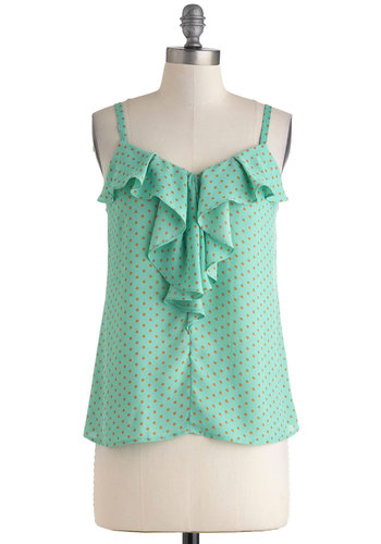 Par for the Turquoise Top - Polka Dots, Ruffles, Casual, Spaghetti Straps, Mid-length, Sheer, Mint, Orange, Pastel, V Neck, Summer
