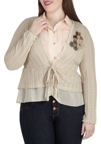 Craft Library Cardigan in Plus Size - Cream, Solid, Flower, Patch, Casual, Long Sleeve, Work, Folk Art