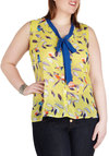 Bird It Through the Grapevine Top in Plus Size - Sheer, Yellow, Multi, Print with Animals, Work, Casual, Spring, Summer