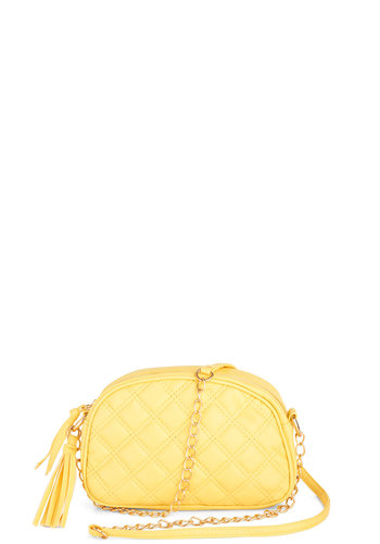 The Good Ole Maize Bag - Yellow, Solid, Quilted, Tassels, Chain, Faux Leather